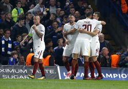 LONDON, Oct. 19, 2017 - Players of Roma celebrate scoring during the UEFA Champions League Group C match between Chelsea and Roma at Stanford Bridge Stadium, in London, Britain on Oct. 18, 2017.