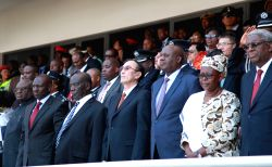Lusaka: Qiangba Puncog(C), vice-chairman of the Standing Committee of China's National People's Congress, who is a special envoy for Chinese President Xi Jinping, attends Zambia's 50th independence ..
