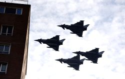 MADRID, Oct. 12 Spainish Air Force fighters fly at the parade of the national day of Spain in Madrid, Spain, Oct. 12, 2017. Spain held a traditional parade to celebrate the national day ...