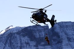 MEIRINGEN, Oct. 11, 2017 - A Swiss EC635 helicopter performs during an air show of the Swiss Air Force on the Axalp near Meiringen Air Base, Swiss, on Oct. 11, 2017. The Swiss Air Force hold their ...
