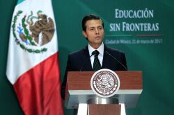 MEXICO CITY, March 22, 2017 - Mexican President Enrique Pena Nieto delivers a speech during the event