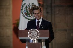 Mexico City: Mexican President Enrique Pena Nieto delivers a speech during the closing ceremony of the 5th Plenary Meeting of the Standing Conference of Local Congress at National Palace, in Mexico ..