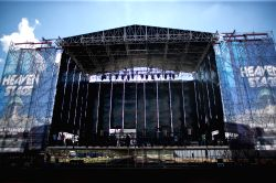 Mexico City: People work at the construction site of stage of Hell and Heaven Metal Fest