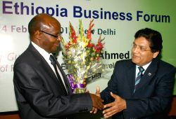 "Minister of Finance & Economic Development,Ethiopia,Sufian Ahmed and President, PHD Chamber Salil  Bhandari at the launch of  ""Ethiopia Business Forum"",in New Delhi on Friday."