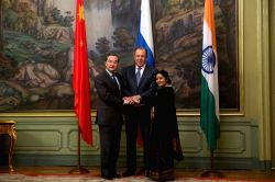 MOSCOW, April 18, 2016 - Chinese Foreign Minister Wang Yi (L), Russian Foreign Minister Sergey Lavrov (C) and Indian External Affairs Minister Sushma Swaraj attend the 14th Meeting of the Foreign ...