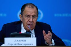 MOSCOW, Jan. 17, 2017 - Russian Foreign Minister Sergey Lavrov speaks during his annual press conference in Moscow, Russia, Jan. 17, 2017. Moscow considered it appropriate to invite representatives ...