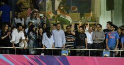 Mumbai: Anil Kapoor, Nita Ambani, Mukesh Ambani, Sachin Tendulkar, Anjali Tendulkar, Sara Tendulkar, Uddhav Thackeray and Aditya Thackeray during the second WT20 semi-final match between ...