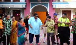 Choreographer Ganesh Acharya performs during the promotion of film Hey Bro on the sets of Tarak Mehta ka Ooltah Chashmah in Mumbai on 17th February, 2015.