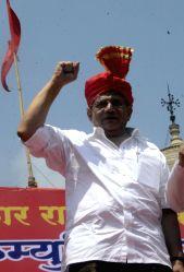 Mumbai: CPM general secretary Sitaram Yechury during a joint ``Maharashtra Right`` rally at Azad Maidan in Mumbai, on May 19, 2015.