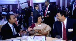 Mumbai: Reliance ADAG chairman Anil Ambani, SBI Chairman Arundhati Bhattacharya and Tata group chairman, Cyrus Mistry at the inauguration of `Mumbai Next` conclave in Mumbai, on Feb 6, 2015.