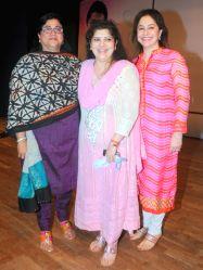 Mumbai: Rita Gupta (Vice President of Maharashtra Nav Nirman Sena - MNS) with Sharmila Thackrey and Dr. Anjali Tendulkar during the Cancer awareness event on the occasion of International Women`s Day ...