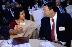 Mumbai: SBI Chairman Arundhati Bhattacharya and Tata group chairman, Cyrus Mistry at the inauguration of `Mumbai Next` conclave in Mumbai, on Feb 6, 2015.