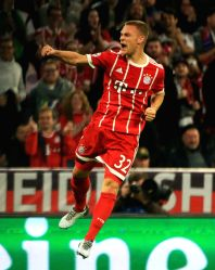 MUNICH, Oct. 19, 2017 - Bayern Munich's Joshua Kimmich celebrates his scoring during the third round match of Group B of 2017-18 UEFA Champions League between Bayern Munich of Germany and Celtic FC ...