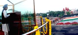 New Delhi,15 August 2010- Prime Minister, Dr. Manmohan Singh addressing the Nation on the occasion of 64th Independence Day from the ramparts of Red Fort, in Delhi on Sunday.