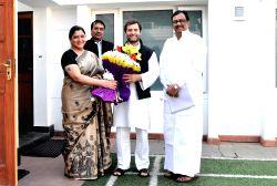 New Delhi: Actress Khushboo calls on Rahul Gandhi