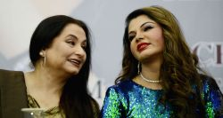 """New Delhi: Rakhi Sawant and Salma Agha at the launch of """"Mere Aansoo"""""""