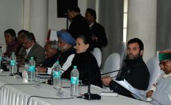 New Delhi: Congress chief Sonia Gandhi, party vice president Rahul Gandhi and former prime minister Manmohan Singh, party leaders Janardan Dwivedi, Ambika Soni and others during Congress Working ...