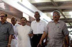 New Delhi Congress leader Mallikarjun Kharge, JD(U) leader Sharad Yadav, CPI leader D Raja and  CPI-M General Secretary Sitaram Yechury after an all party meeting on Kashmir in New Delhi on Sept 7, ...