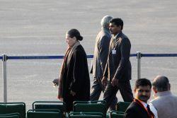 New Delhi: Congress president Sonia Gandhi arrives for the 'Beating the Retreat' ceremony at Vijay Chowk, New Delhi on Jan. 29, 2015.