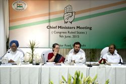 Congress president Sonia Gandhi, vice president Rahul Gandhi and party leader Dr. Manmohan Singh and AK Antony during a party meeting in New Delhi, on June 9, 2015.