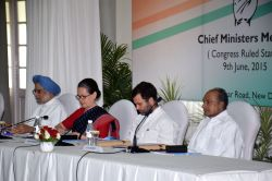Congress president Sonia Gandhi, vice president Rahul Gandhi and party leaders Dr. Manmohan Singh and AK Antony during a party meeting in New Delhi, on June 9, 2015.