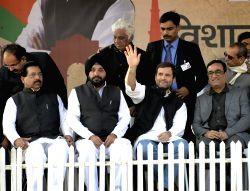 New Delhi: Congress vice president Rahul Gandhi, Delhi state Congress president Arvinder Singh Lovely and leader Ajay Maken addressing an election rally in New Delhi on Jan. 29, 2015.