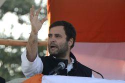 New Delhi: Congress vice president Rahul Gandhi addressing an election rally in New Delhi on Jan. 29, 2015.