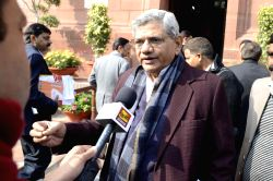 New Delhi: CPI (M) leader and MP Sitaram Yechury talks to press at the Parliament premises in New Delhi, on Dec 17, 2014.
