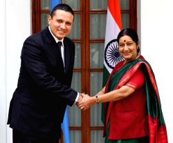New Delhi: External Affairs Minister Sushma Swaraj shakes hands with Carlos Raul Morales Moscoso, her counterpart from Republic of Guatemala in New Delhi, on Oct.15, 2014.