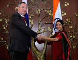 New Delhi: External Affairs Minister Sushma Swaraj with the Deputy Prime Minister of Russia Dmitry Rogozin, at 20th India-Russia Inter-Governmental Commission Meeting in New Delhi, on Nov 5, 2014.