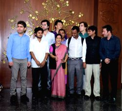 New Delhi: External Affairs Minister Sushma Swaraj meets a group of foreign students from 15 different nations studying in India on ICCR scholarship in New Delhi on Nov 10, 2014.