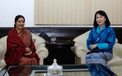 New Delhi: External Affairs Minister Sushma Swaraj meets Queen Mother of Bhutan, Ashi Tshering Yangdon in New Delhi on Nov 16, 2014.Yangdon is the mother of Bhutanese king Jigme Khesar Namgyel ...
