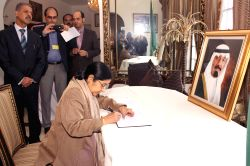 New Delhi : External Affairs Minister Sushma Swaraj signs the condolence book for Saudi Arabia's King Abdullah at the residence of Ambassador of Saudi Arabia to India Dr. Saud Alsatilt on Jan. 27, ...