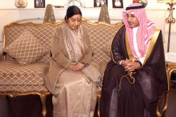 New Delhi : External Affairs Minister Sushma Swaraj with Ambassador of Saudi Arabia to India Dr. Saud Alsatilt at Ambassador's residence to express her condolence on death of Saudi Arabia's King ...