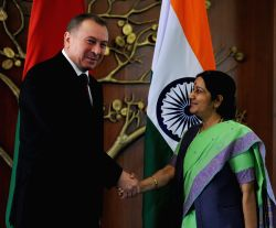 New Delhi: External Affairs Minister Sushma Swaraj during a meeting with her counterpart from Belarus, Vladimir Makei at Jawahar Bhavan in New Delhi on April 15, 2015.