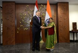 New Delhi: External Affairs Minister Sushma Swaraj during a meeting with the Minister of Foreign Affairs of Republic of Tajikistan, H.E. Aslov Sirojidin Muhridinovich in New Delhi, on May 13, 2015.