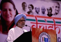 New Delhi: Former prime minister and Congress leader Manmohan Singh addresses during `Drishtikon` - NSUI convention in New Delhi, on May 27, 2015.