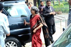 New Delhi: Former prime minister Dr. Manmohan Singh's daughter Upinder Singh comes out of the Supreme Court of India in New Delhi on April 1, 2015.