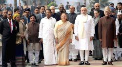 New Delhi: Former Prime Minister Manmohan Singh, Congress president Sonia Gandhi, Vice President Hamid Ansari, Prime Minister Narendra Modi, senior BJP leader L K Advani, speaker Sumitra Mahajan, ...