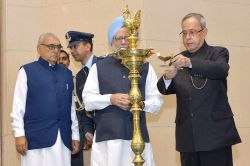 New Delhi: President Pranab Mukherjee during the birth centenary celebrations of of freedom fighter Ch Ranbir Singh Hooda at Vigyan Bhavan in New Delhi, on Nov 27, 2014. Also seen former prime ...