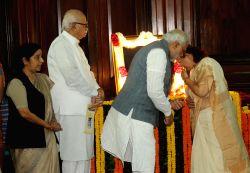 New Delhi: Prime Minister Narendra Modi, External Affairs Minister Sushma Swaraj, Lok Sabha Speaker Sumitra Mahajan and BJP leader L K Advani pay tribute to Sardar Vallabhbhai Patel on his 139th ...