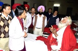 Punjab Principal Secretary Health and Finance Vini Mahajan visits people who lost their vision after undergoing eye surgery at an eye camp organised by an NGO in Gurdaspur district of ...
