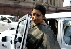 New Delhi: Union External Affairs Minister Sushma Swaraj arrives at the Parliament in New Delhi, on March 17, 2015.