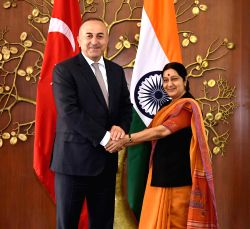 New Delhi: Union External Affairs Minister Sushma Swaraj meets Turkish Foreign Minister Mevlut Cavusoglu in New Delhi, on March 19, 2015.