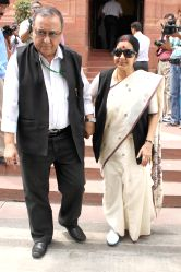 New Delhi: Union External Affairs Minister Sushma Swaraj at the Parliament in New Delhi on May 11, 2015.
