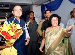 Union Minister for Finance, Corporate Affairs, and Information and Broadcasting Arun Jaitley and SBI chairman Arundhati Bhattacharya during a meeting to review the performance of the ...