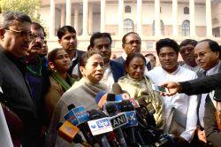 New Delhi: West Bengal Chief Minister and Trinamool Congress chief Mamata Banerjee addresses press at the Parliament premises in New Delhi on Dec 18, 2014.