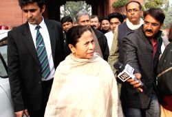 New Delhi: West Bengal Chief Minister and Trinamool Congress chief Mamata Banerjee at the Parliament premises in New Delhi on Dec 18, 2014. (Amlan Paliwal/IANS)
