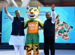 New Delhii: Union Sports Minister Vijay Goel and All India Football Federation (AIFF) president Praful Patel unveil the FIFA Under 17 Football World Cup mascot - 'KheLEO' at Jawaharlal Nehru Stadium ...