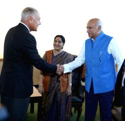 New York: Arab League Secretary General Ahmed Aboul-Gheit meets Union MoS External Affairs M.J. Akbar at the United Nations headquarters in New York on Sept 23, 2017. Also seen External Affairs ...